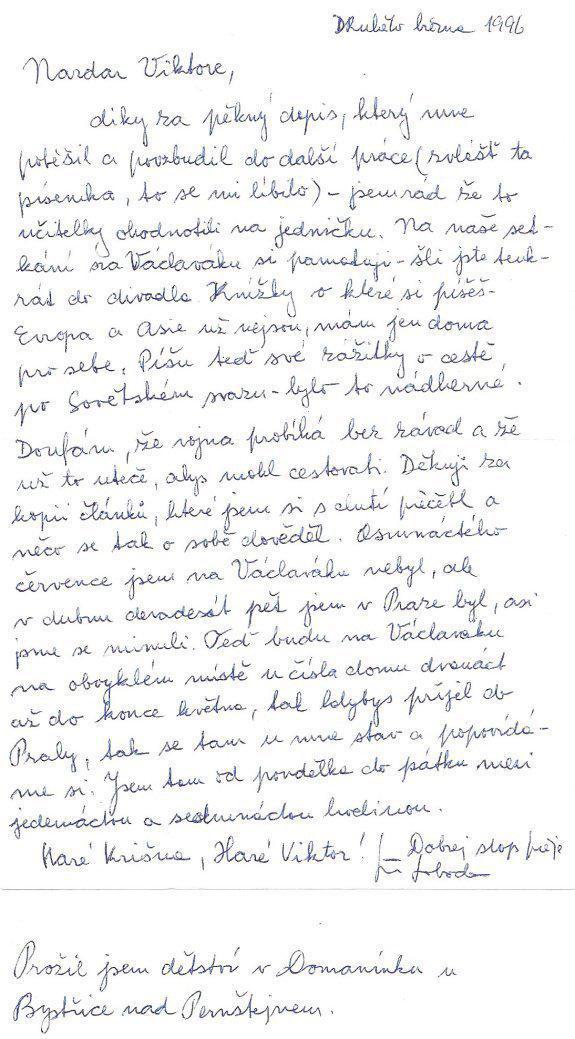Dopis od cestovatele Jiřího Svobody